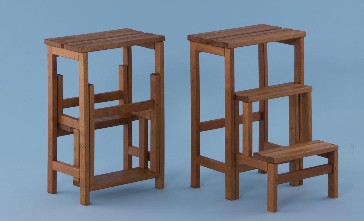 Sgabelli comodini in ferro e legno noce design industriale